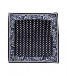 """Foulard coton """"La Mouche"""" bleu/blanc 45x45 cm"""