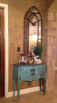 Turquoise Foyer Table I Painted And Distressed