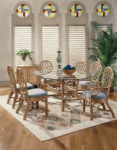 Martinique Rattan Oval Dining Set of 7 via @wickerparadise #dining #wicker #rattan #table #chairs www.wickerparadise.com