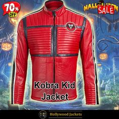 #Halloween Hot offer Get 70% #TvSeries My Chemical Romance Band #KobraKid Striped Design Red Leather Jacket. #HalloweenSale #Halloween #Sale #2021 #OOTD #Style #Cosplay #Costum #men #fashionstyle #women #jacket #shopnow #Clothes #leather #discountoffer #outfit #tvseris #onlineshopping #discount #buymypremium #celebrities #offers #fashion #movie