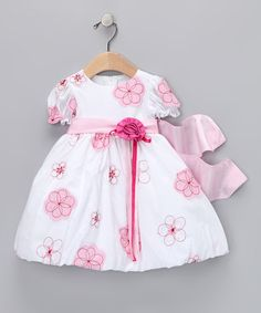 Take a look at this Pink Embroidered Short-Sleeve Dress - Infant by Sweá Pea & Lilli on #zulily today!