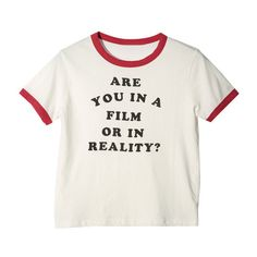 Reality T-shirt (1,615 PHP) ❤ liked on Polyvore featuring tops, t-shirts, shirts, crop top, white t shirt, white crop shirt, cotton tee, cotton shirts and crop t shirt