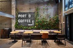 Port-o-Coffee on Behance Coffee Shop Interior Design, Coffee Shop Design, Office Interior Design, Cafe Design, Industrial Restaurant Design, Industrial Cafe, Restaurant Interior Design, Loft Cafe, Showroom Design