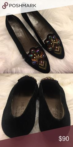 Charles Jordan vintage black suede beaded heels Gently used , size 9, suede leather has a few wear marks that are not noticeable, beautiful bead work , made in Paris , beautiful condition , low heel 1.5 inches , Please see all pictures, some glue marks on heels as shown Charles Jourdan Shoes Heels