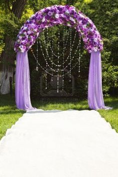 indoor wedding arches. indoor wedding arch decorations | purple arch. holy cow i want this but with arches c