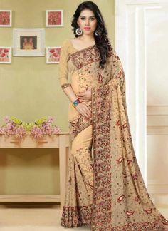 Cream Embroidery Thread Work Georgette Party Wear Designer Fancy Sarees http://www.angelnx.com/Sarees/Designer-Sarees