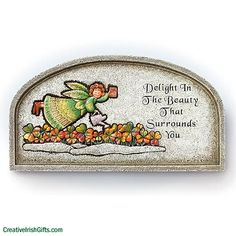 """""""Watering Shamrocks"""" Angel Plaque  What a """"delightful"""" addition to your patio or porch. Resin / stone mix. 6 1/2 x 12 x 1/2"""" Imported.  Add a little Irish blessing to your outdoor entryway with this lovely plaque today!  #Irish #IrishGifts #Ireland #Gardening #Outdoors #Home"""