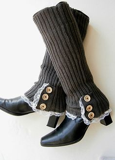 Knit Leg Warmers Womens Boot Cuffs Long Socks  Buttons Lace-Dark grey. $21.50, via Etsy.