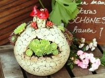 "Gartenkeramik  Kugel ""Elfenhäußla"""
