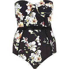 Black floral print mesh detail swimsuit