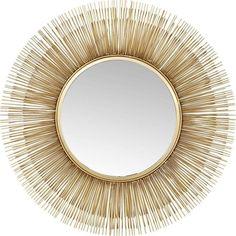 Kare Design Spiegel Sunburst Tre Gold Gold 87 x 9 x 87 Large Round Mirror, Round Wall Mirror, Dresser With Mirror, Round Mirrors, Kare Design, Golden Mirror, Dark Hallway, Overmantle Mirror, Luxury Mirror