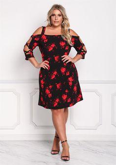 Plus Size Clothing   Plus Size Rose Shoulder Cut Out Shift Dress   Debshops