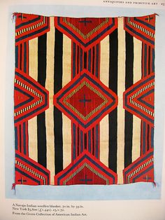 "navajo indian wool blanket  70""x59"", $3600   From Sotheby's Art at Auction, 1973  warymeyers blog, via Flickr                                                                                                                                                                                 More"