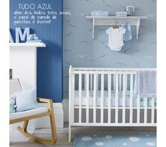 Take a minute to look at our colorful blue baby room. Get more decorating ideas at http://www.CreativeBabyBedding.com