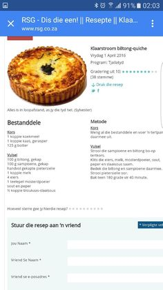Quiche Recipes, Tart Recipes, My Recipes, Appetizer Recipes, Cooking Recipes, Favorite Recipes, Braai Recipes, Kos, Savoury Dishes