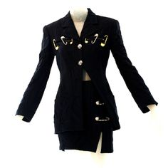 Gianni Versace Clothing | 1994 Gianni Versace Couture Slashed Suit with Safety Pins at 1stdibs