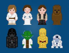 Star Wars Movie Characters  Cross Stitch by AmazingCrossStitch Cross Stitching, Cross Stitch Embroidery, Embroidery Patterns, Hand Embroidery, Star Wars Characters, Movie Characters, Star Wars Personajes, Perler Beads, Fuse Beads