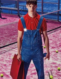 Fashion photographer Branislav Simoncik teams up with top model Filip Hrivnak for War Of Colors story coming from the pages of GQ Portugal's June edition. Fashion Tape, Red Fashion, Denim Fashion, Gq, Morocco Fashion, Estilo Denim, Bib Overalls, Dungarees, Herren Outfit