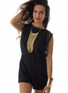 Black Pom Pom Trim Playsuit,  Other, black  lace  pom pom  romper, Chic #black #pompom #trim #playsuit #love #cute #summer #fashion #ootd #trendy www.UsTrendy.com