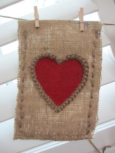 Just Married burlap banner - up close of heart detail