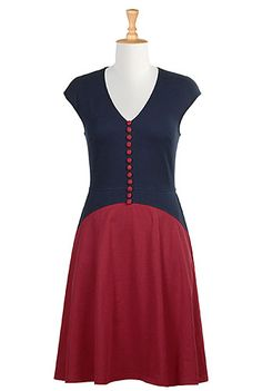 I <3 this Two tone curved waist knit dress from eShakti