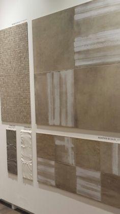"""Ceramica Viva, pad. 36. """"Punti di vista"""". Dettagli in gres porcellanato come spatolato di stucco. Interesssante.  #Cersaie"""