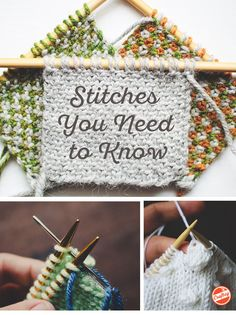 Master seven essential stitches every knitter should know. Loom Knitting, Knitting Stitches, Knitting Patterns, Knitting Ideas, Knitting Help, Charity Knitting, Knitting Terms, Intarsia Knitting, Loom Knitting Patterns