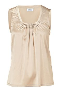 STEFFEN SCHRAUT  Almond Constanca Pleated Scoop Neck Top