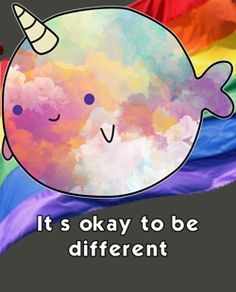 cute punny gay quote: It's okay to be different. funny gay quotes, pride quotes, funny lgbt quotes, gay cute puns, cute puns, gay quotes,
