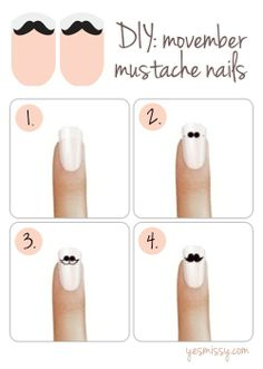 DIY: Movember Mustache Nail Tutorial @Kaileigh Ritenburgh @Chelsea Rose Rose Corrigan