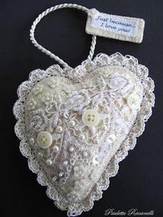 Felt ornament with crochet lace
