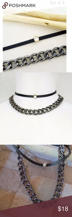 """Choker with Rhinestone and Chain Link Necklace Set of Choker with Rhinestone and Chain Link Necklace in Hematite New  Wear together or separate, style your ensemble with a fabulous choker and chain set!   Size + Fit Length: 12"""" - 16"""" 3"""" Ball Extension Jewelry Necklaces"""