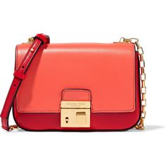 Michael Kors Collection Gia small two-tone leather shoulder bag ($700) ❤ liked on Polyvore featuring bags, handbags, shoulder bags, orange, leather handbags, red shoulder bag, red leather handbag, michael kors handbags and red purse