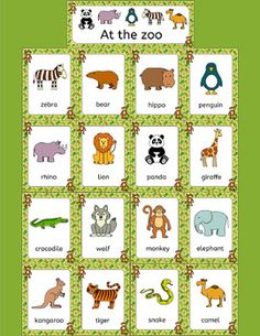 Fun and colorful zoo animals word wall with cute animal graphics - lion, tiger, bear, camel, wolf, elephant, rhino, hippo, kangaroo, snake, crocodile, penguin, giraffe, zebra, monkey, panda.    The images can also be cut out individually to use as flashcards.