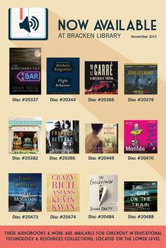 Audiobooks that are now available at Bracken Library | November 2015
