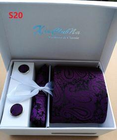 Mans Ties Purple Paisley Neckwear Corbatas Gravata Hombre Jacquard Woven Necktie Set Cufflink Hanky Business Wedding Holiday