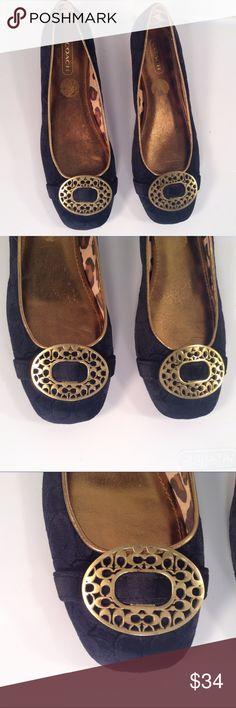Coach Blue Velvet Gold Ballet Flats Size 8.5