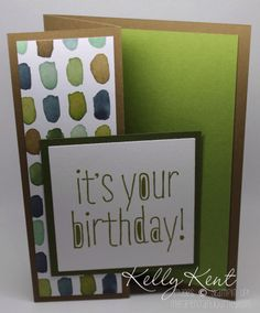 Z-fold card using English Garden DSP & Big News Stamp Set. Homemade Greeting Cards, Hand Made Greeting Cards, Making Greeting Cards, Homemade Cards, Birthday Thank You Cards, Simple Birthday Cards, Birthday Wishes, Fancy Fold Cards, Folded Cards