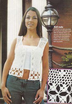 Patrón #1135: Chaleco Blanco a Crochet #ctejidas http://blgs.co/DMOa4n