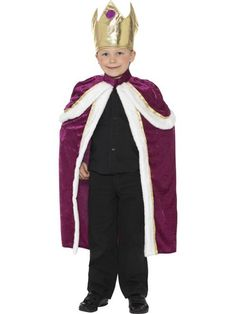 Boys King fancy dress costume, ideal for turning your boy into a regal King, ready for School Plays including the nativity, World Book Day or just dressing up for fun! Description from fancy-dress-forever.co.uk. I searched for this on bing.com/images