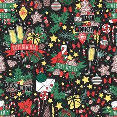 Christmas seamless pattern vector. Vintage Design. $4.00