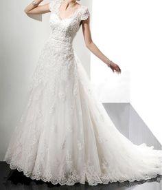 Wedding Dress,Wedding Gown, Lace Wedding Dres , Short Sleeve Bridal Dress, Court Train Bridal Dress