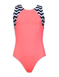 Leotards | Gymnastic Workout Clothes | k-Bee Leotards - Chevron/Salmon Victory Leotard - k-Bee Leotards