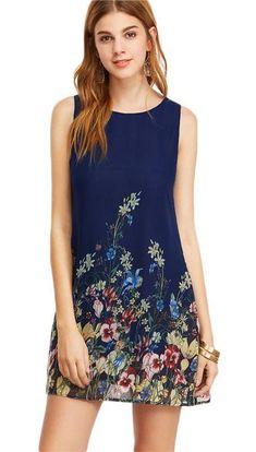a1e237f25f Women s Dresses Navy Floral Print Sleeveless Casual Dresses