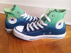 New pair! Emerald green & navy blue ombre Converse, dip dye sneakers, All Stars, Chucks, uk 5 (eu us wo Converse All Star, Cool Converse, All Star Shoes, Converse Sneakers, Blue Sneakers, Converse Shoes High Top, Custom Converse, Navy Shoes, Boots