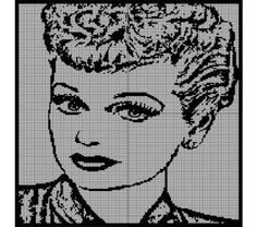 "Lucille Ball ""I Love Lucy"" Crochet Pattern Afghan Graph, $3.5"