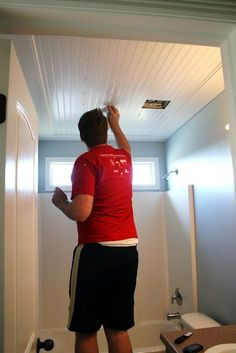 For a small room, a sheet of bead board paneling covers ceiling. Frame it out and...wow!- for the upstairs Bathroom.