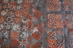 Medieval (1240-1300AD) encaustic tiles from Winchester Cathedral.