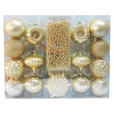 Christmas Ornament Set Silver Variety 40 Ct   Christmas