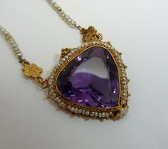 Edwardian Amethyst & Pearl Floral Necklace in 18ct Yellow Gold